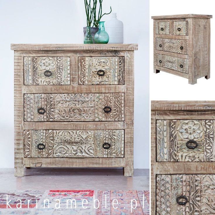 Yasmin to kolekcja pięknych, unikatowych mebli z drewna z recyklingu. Pasują zarówno do stylu loftowego jak i orientalnego i vintage. Komoda z drewna z recyklingu idealne można komponować z meble indyjskie, meble kolonialne, meble drewniane i meble orientalne. Cztery szuflady na komoda są ręcznie robione i rzeźbione w klasyczny stylu. Na cały kolekcja posiadamy także meble do salonu, meble do sypialnia i meble do przedpokój.