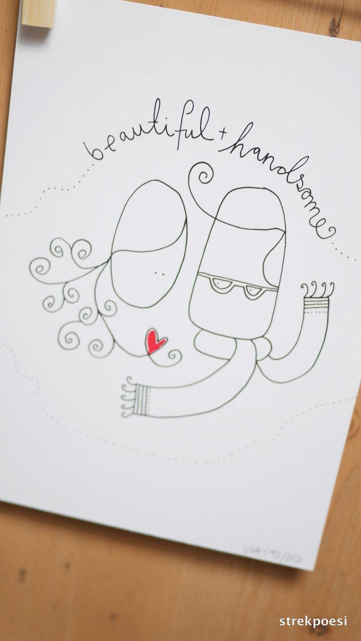 Strekpoesi Love, wedding.  Beautiful + handsome www.strekpoesi.no illustration, drawings, #strekpoesi