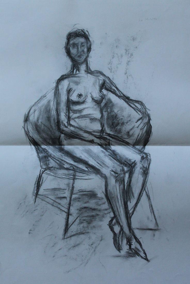 Life drawing using charcoal
