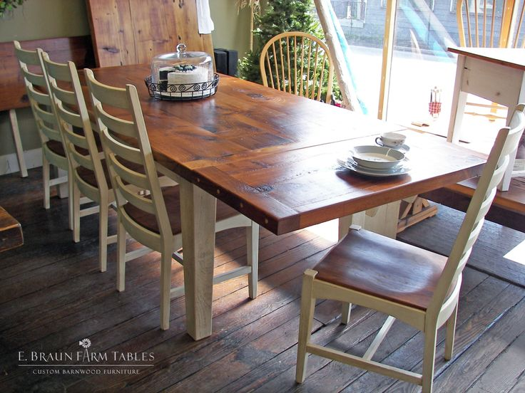 White Pine Table With Antiqued White Painted Base And White Manhattan Chairs  To Match. White