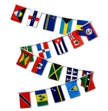 1 Set of 20 Caribbean Country String Flags has 20 12x18 inch polyester flags on one 30 ft string. Quantity of 1 equals one string of 20 flags (1 of each of the following countries: Antigua & Barbuda, Netherland Antilles, Aruba, Bahamas, Barbados, Belize, Bermuda, Cuba, Dominican Republic, Dominica, Grenada, Haiti, Jamaica, Martinique, Puerto Rico, St. Kitts & Nevis, St. Lucia, Curacao, St. Vincent, Trinidad & Tobago).