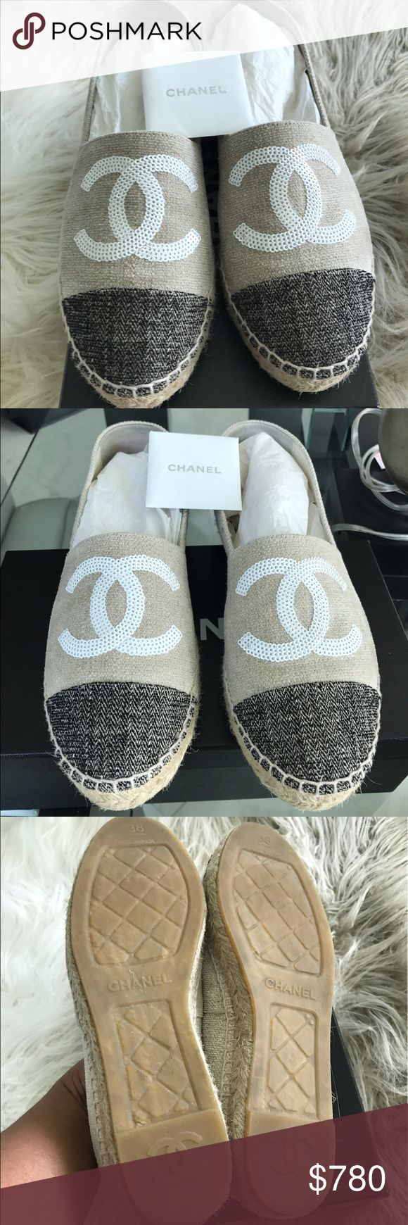Chanel espadrilles beige/black size 38 Almost like new condition Chanel black and beige espadrilles, size 38 ( would fit a US size 7 perfect ) it comes with box and authenticity card! CHANEL Shoes Espadrilles
