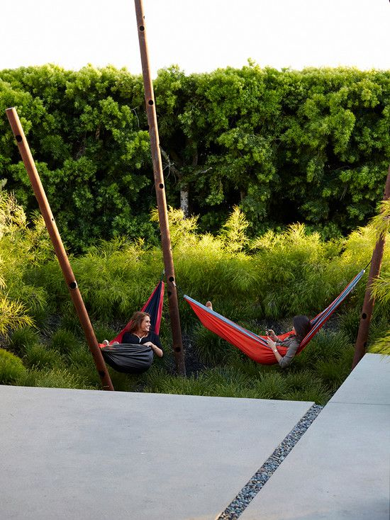 , Contemporary Landscape With Adorable Bed Hammock Also Beautiful Green Plants: Bedroom Hammock, a Different Way to Sleep