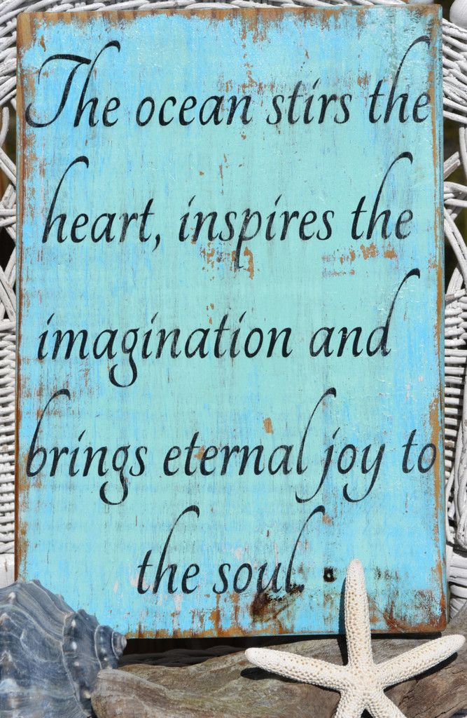 Wyland Beach Decor Sign The Ocean Stirs The Heart Quote Coastal Art Plaqes Handpainted Hanging Wood Beach House Sign Distressed Reclaimed Wood Carova Beach