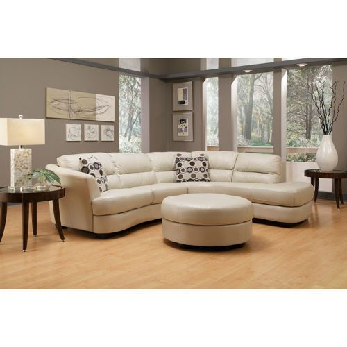 Nouveau Top Grain Leather Sectional And Ottoman Oyster