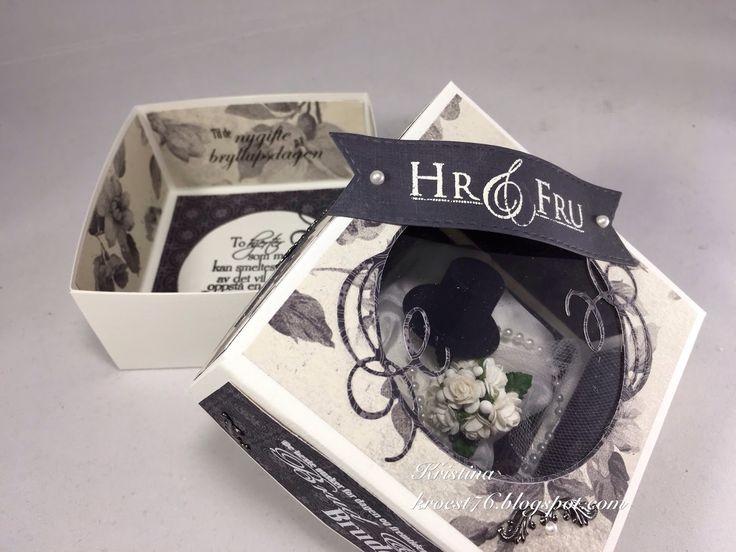 Eske med utsillingsvindu, eske, bryllup, tutorial, North Star Design, North Star Stamps