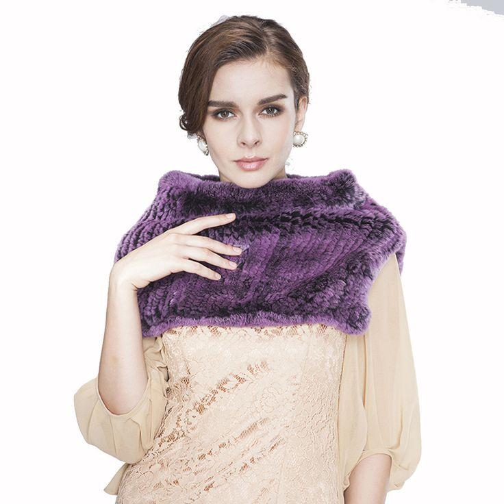 URSFUR Knit Women's Rex Rabbit Fur Snood Scarf Shawl
