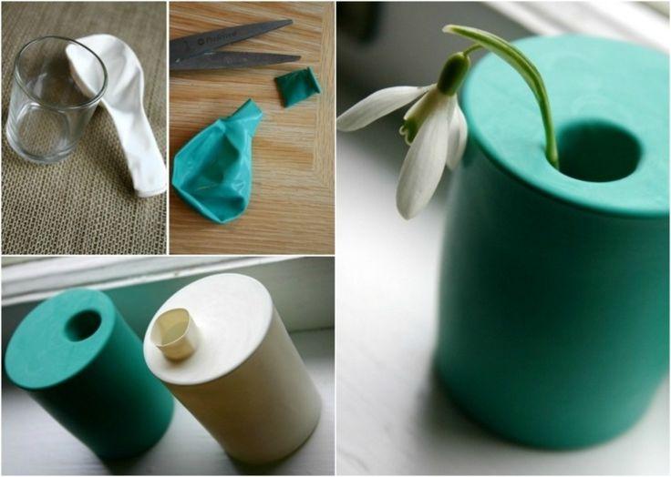 Auf der gleichen Weise können Sie auch bunte Vasen aus Flaschen basteln