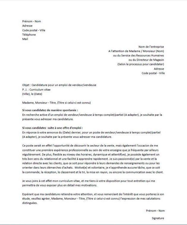 Lettre De Motivation Francais: Lettre De Motivation Pour Un Poste De Vendeur/vendeuse
