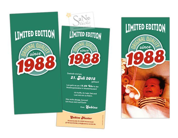 Einladungskarte Geburtstag Vintage Jahrgang 1988 in 3 Farbvarianten