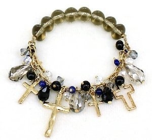 Heirloom Finds Gold Tone Cross Charm Bracelet with Smoky Quartz and Crystal