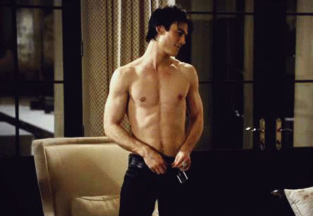 Pin for Later: 21 Times the Men of The Vampire Diaries Revealed Their Glorious Abs When Damon gives a strip tease and we momentarily lost consciousness