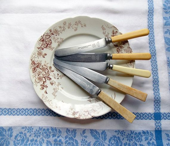 Set of Five Unmatched Sheffield Knives / Early by SmallbonesStudio