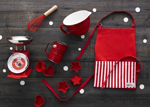 Mega Mini Masterchef – Red $95.00  Kids Kitchen miniature mechanical scales in red 3kg capacity, Kids Kitchen mini melamine mixing bowl in red with rubber base, Kids Kitchen mini stainless steel flour sifter with old-fashioned crank handle in red, Kids Kitchen set of 3 hearts and 3 stars silicone cupcake moulds in red, Kids Kitchen mini 100% cotton apron with adjustable neck strap in red, Kids Kitchen mini silicone whisk with timber handle in red www.thespecialdeliverycompany.com.au
