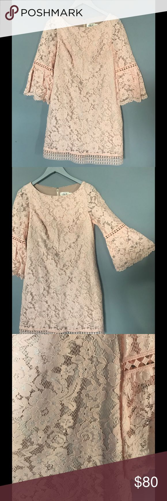 Eliza J Light Pink Lace Dress ONLY Worn 1 Time || Bell Sleeves || Formal Dress || Thick Fabric, but Not Hot || Satin Sewn in Slip || Lace Sleeves keep it cool enough to wear in spring or summer Eliza J Dresses Long Sleeve