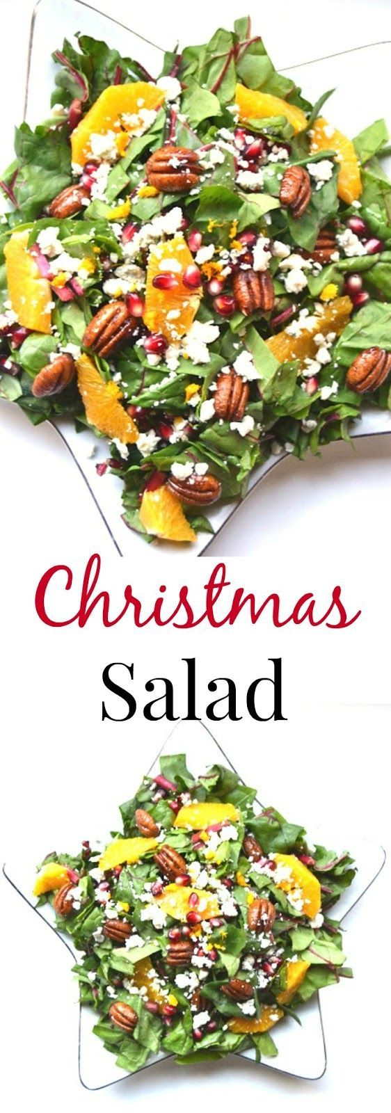 This Christmas Salad is packed full of nutrients and flavor with fresh oranges, pomegranate seeds, pecans, Swiss chard and blue cheese with a homemade dressing. www.nutritionistreviews.com