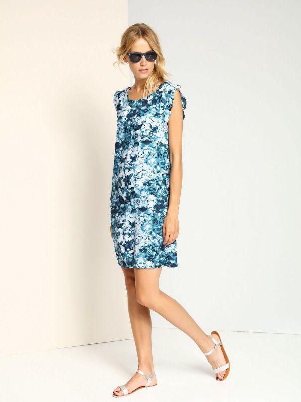 sukienka damska we wzory granatowa - SSU1657 TOP SECRET