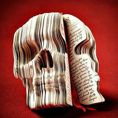unique skull made from a book