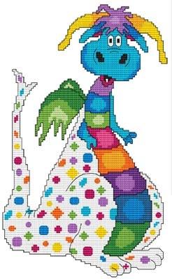 From Cross Stitch Wonders: Dragon Augie: Wonderful Dragon Design! Stitch count is 86 x 144. Included is a large/easy to read counted cross stitch chart, suggested DMC floss colors, and a color picture.    Designs match the Dragons that are in the Days Of Yore fabric line by RJR Fabrics.