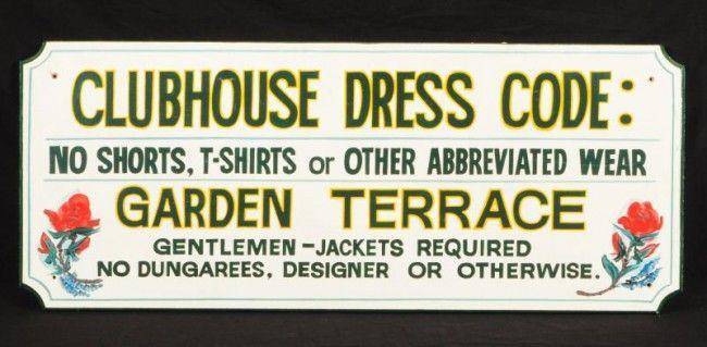 Saratoga Race Track Signage | Saratoga Race Track Clubhouse Dress Code Wood Sign : Lot 30