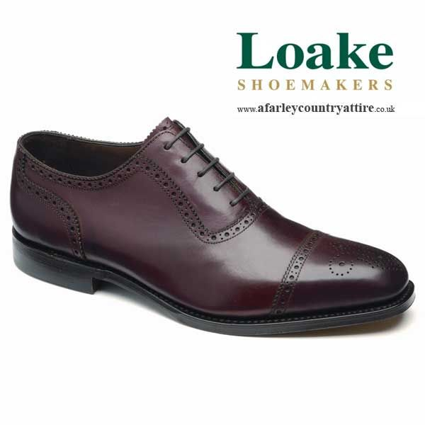 Loake Shoes  Strand  Oxford Semibrogue  Burgundy  available to buy  online