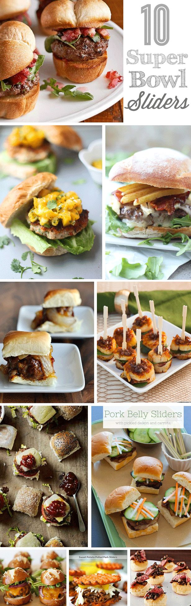10 Sliders and Mini Burgers {Super Bowl Recipes}