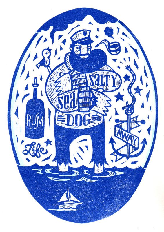 Great linocut work! | Illustrator: John Fellows #sailor #blue