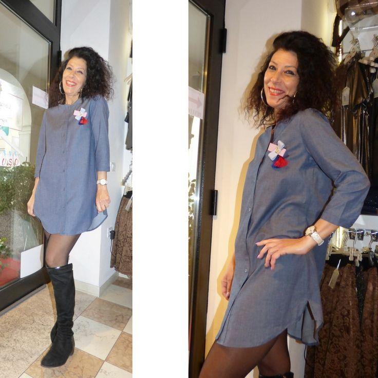 Maxi camicia jeans con la spilla  Maniche 3/4    Comodo e bello    Made in Italy  https://www.lorcastyle.it