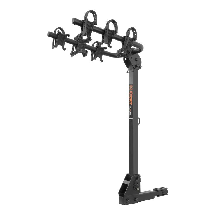 """CURT 18033 Hitch-Mounted Bike Rack. Securely holds up to three bikes with a max capacity of 135 lbs. Adapter sleeve allows mounting on either 1 1/4"""" or 2"""" receiver tube. Adjustable rubber cradles will not scratch bike frames. Tilts away for convenient rear vehicle access. Arms fold down when not in use for compact storage."""