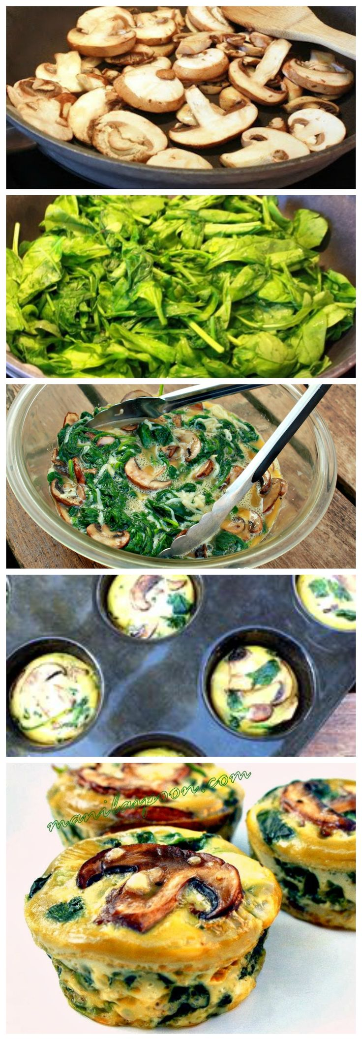 Perfect for a quick, yummy and healthy breakfast on the go - SPINACH QUICHE CUPS - Low-carb and gluten-free! Perfect healthy appetizer for Game Day!