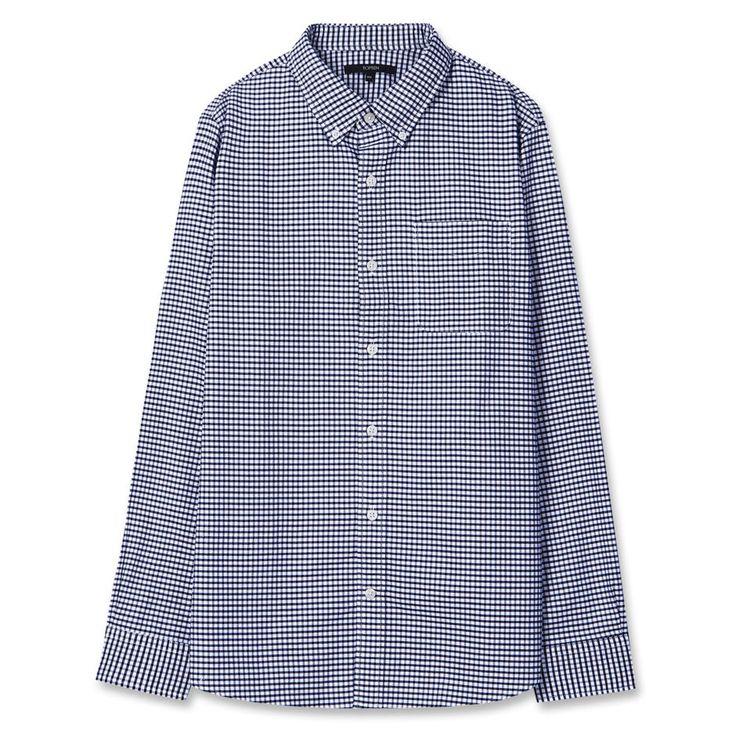 Topten10 Unisex Dark Navy Checks Formal Oxford Buttondown Cotton Dress Shirts #Topten10