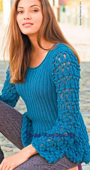 1075 Пуловер серо-синий