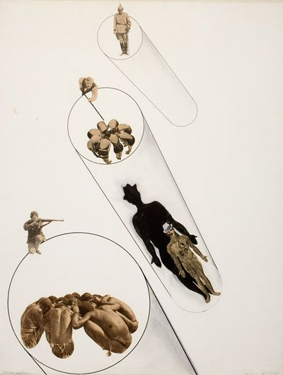 László Moholy-Nagy (American, b. Hungary 1895–1946), Massenpsychose, 1927. Photomontage of photomechanical and drawn (ink and pencil) elements. Overall: 64.2 x 49.2 cm (25 1/4 x 19 3/8 in.); matted: 86 x 71 cm (33 7/8 x 27 15/16 in.). George Eastman House, purchased from Mrs. Sibyl Moholy-Nagy with funds provided by Eastman Kodak Company 1981.2163.0049.