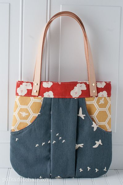 How to add Leather Straps to a Handbag. March Bag handbag pattern made with Birch Organics Decor weight fabric.