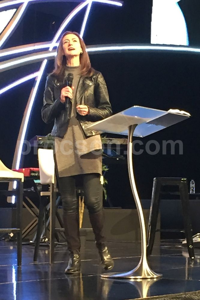 The Arc3 modern lectern, being used by Catrina Henderson, Principal of Hillsong College, Sydney.