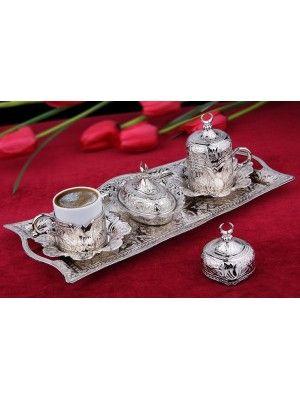 Osmanlı Motifli Lalezar 2 Kişilik Dikdörtgen Tepsili Kahve Fincanı Seti - Gümüş
