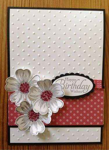 stampinup pansy punch | ve made this as a tent style card in basic black card the whisper ...