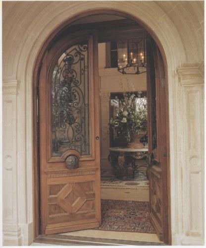 Custom Mahogany Arched Double Doors Mediterranean Front