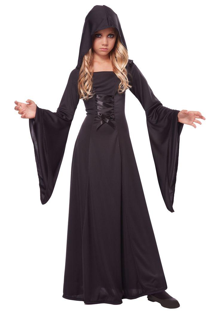 Girl's Deluxe Black Hooded Robe