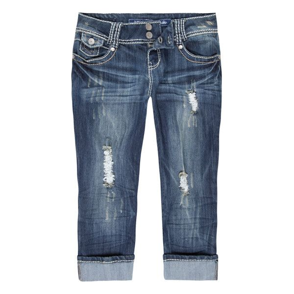ALMOST FAMOUS Womens Denim Capris ($15) ❤ liked on Polyvore featuring pants, capris, jeans, shorts, bottoms, blue blast, almost famous capris, denim trousers, blue capri and blue denim pants