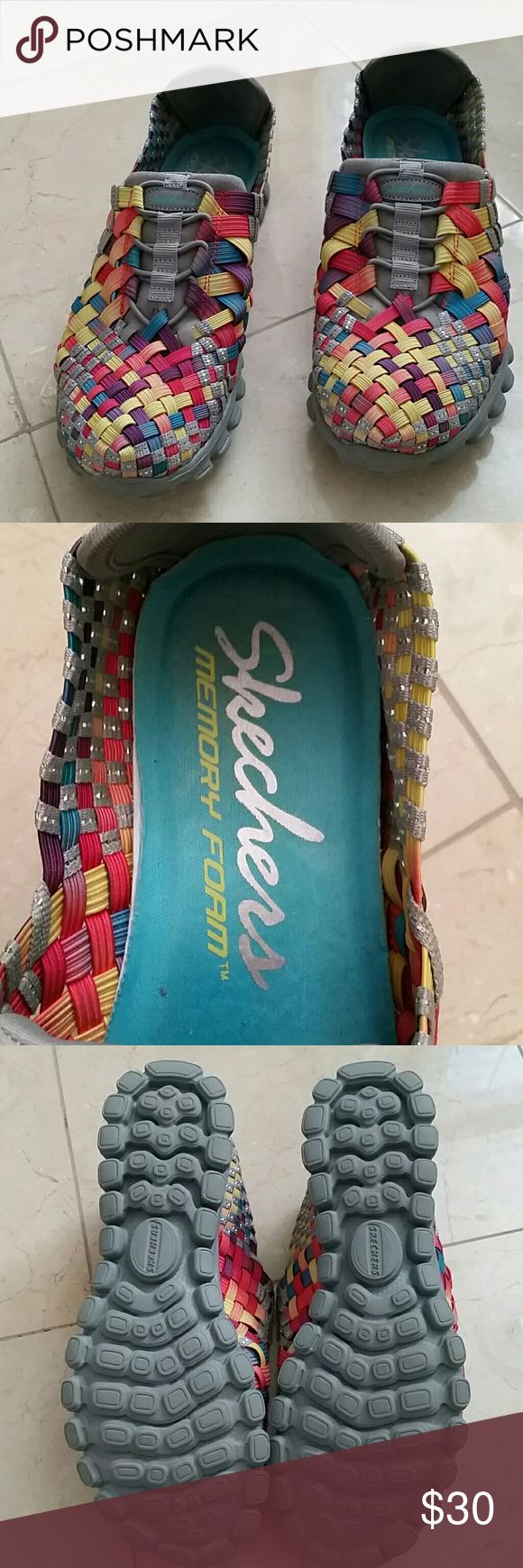 SKECHERS WALKING SHOES SKECHERS EZ FLEX  MEMORY FORM WALKING SHOES /SLIP ON  SIZE 7 MY FAVORITE WALKING SHOE/ BUT THESE ARE TO BIG ON ME ! I'M A 7/7.5 AND THEY SLIP!  BRIGHT MULTI COLORED  SO COMFORTABLE!  NEVER WORN! Skechers Shoes Athletic Shoes
