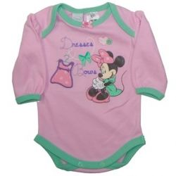 Cute licensed Disney Minnie Mouse long-sleeve bodysuit.  Sizes 0000, 000, 00 & 1.
