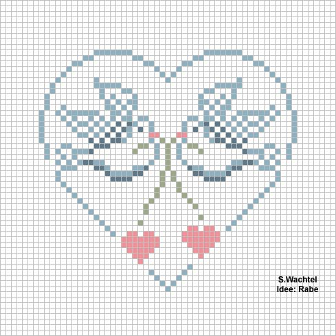amour - love - oiseau - coeur -  point de croix - cross stitch - Blog : http://broderiemimie44.canalblog.com/