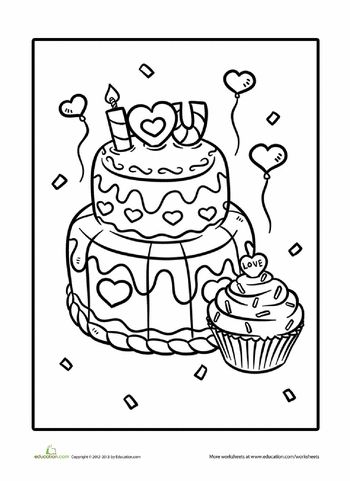 Worksheets: Valentine Treats Coloring Page