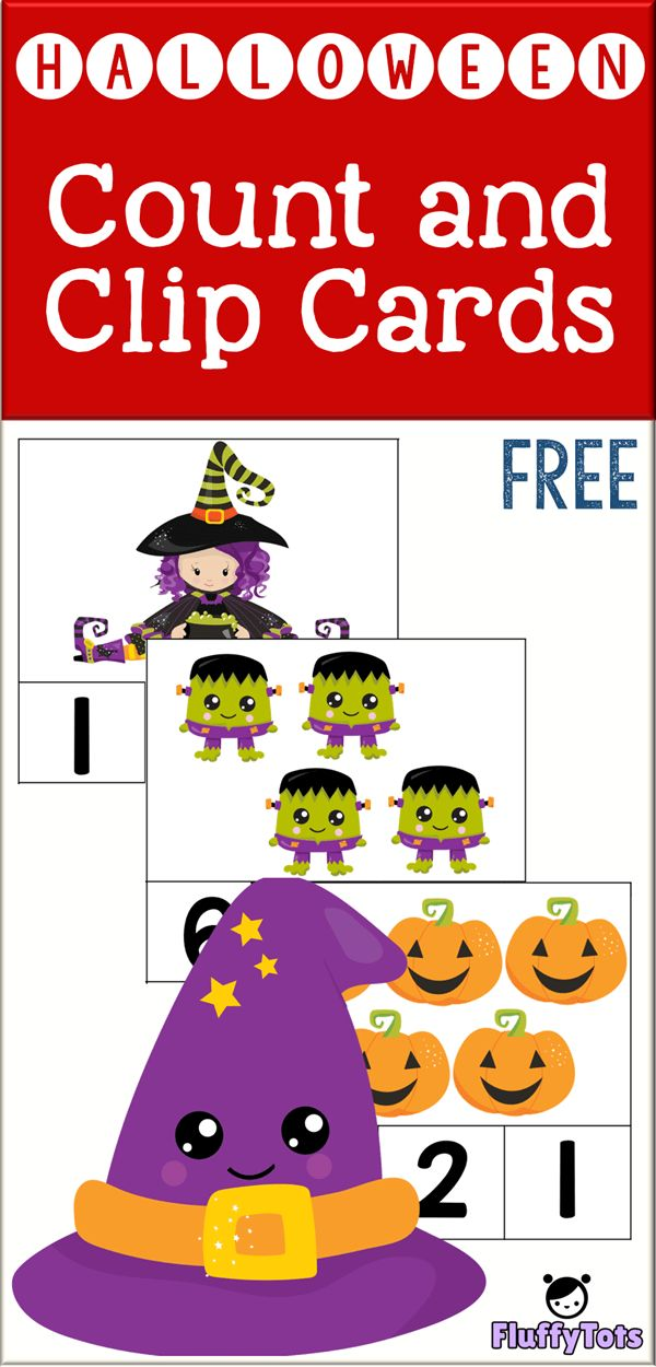 Halloween Count and Clip Cards : FREE 12 Clip Card…
