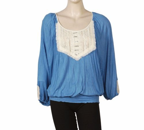 2639-New-Free-People-Embellished-Patchwork-Blue-Smocked-Blouse-Tunic-Top-S-6
