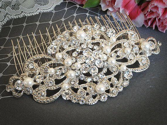VILANA, Victorian Style Wedding Hair Comb, White or Ivory Bridal Hair Comb, Vintage Wedding Hair Accessories, Rhinestone Bridal Hairpiece on Etsy, $78.00