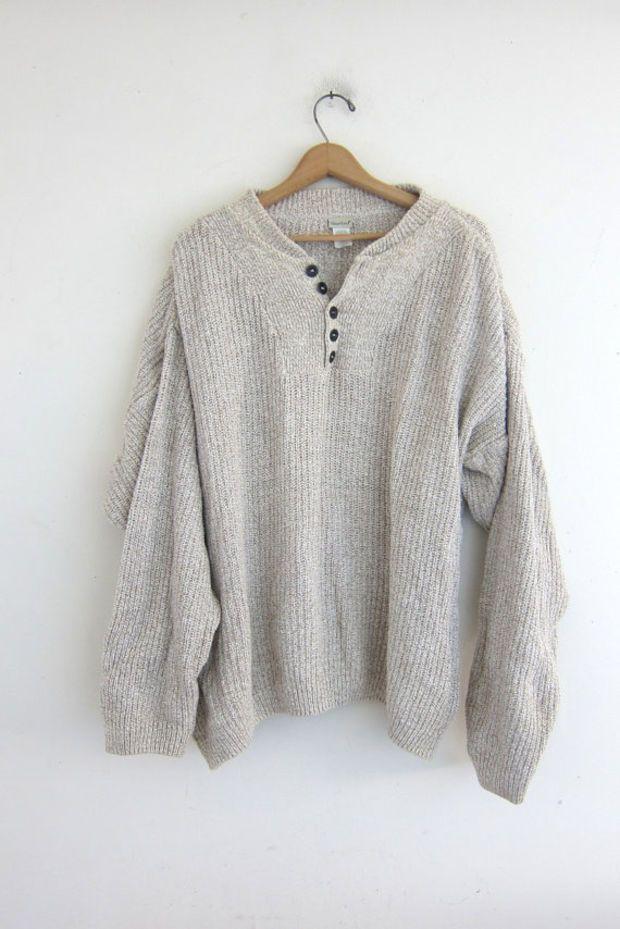 vintage oatmeal sweater. slouchy knit sweater. henley sweater. boyfriend…