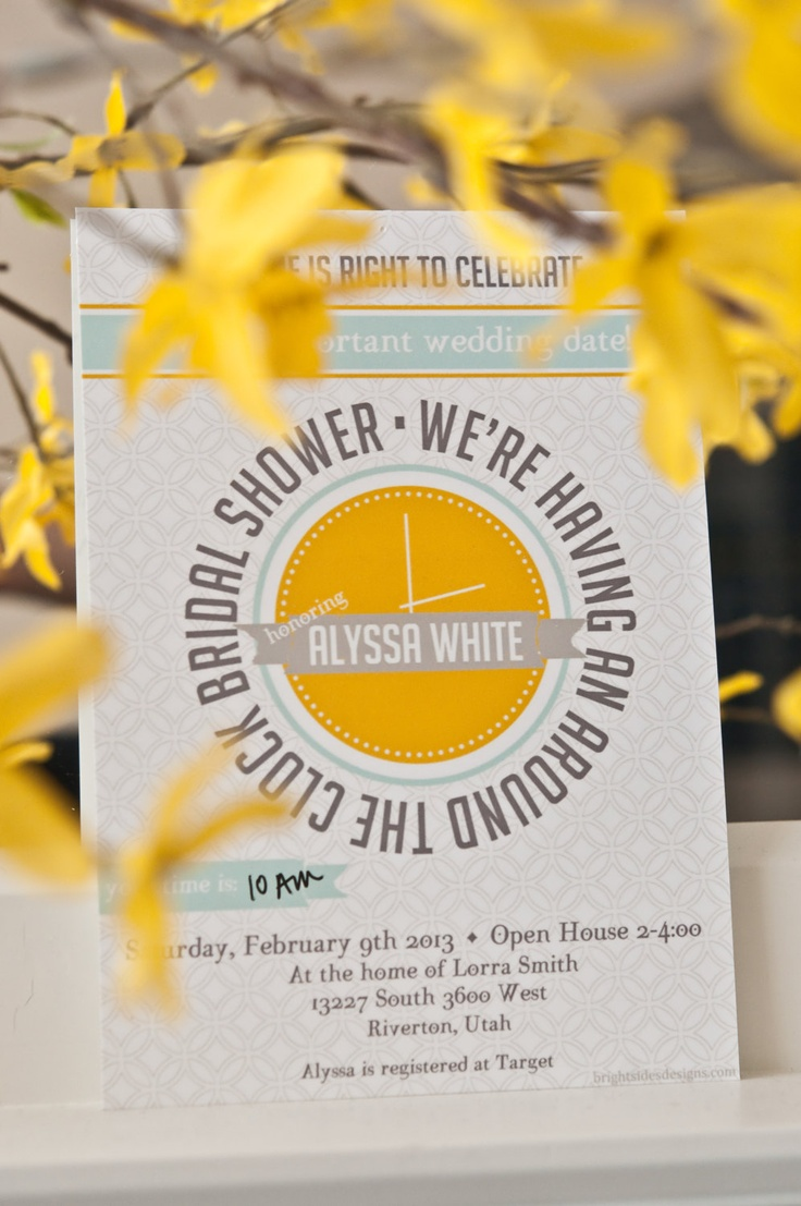 inexpensive wedding shower invitations%0A Around the Clock Wedding Shower Invitation  Download  Customizable