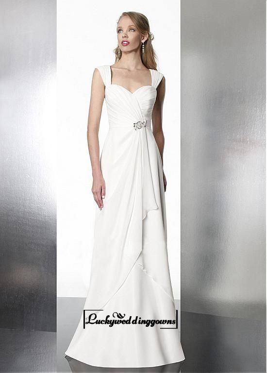 Attractive A-line Portrait Neck Natural Waist Chiffon Wedding Dress With Beadings